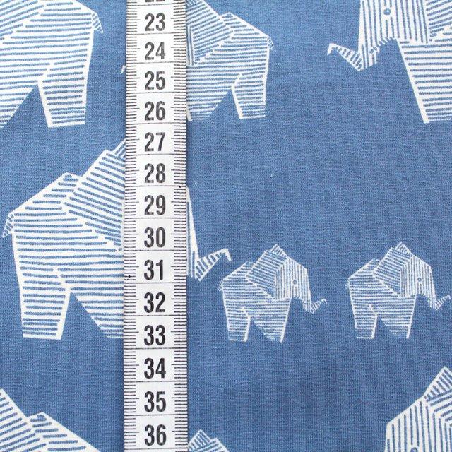 Biojersey Elefant - gedecktes hellblau - offwhite (stonewashed)