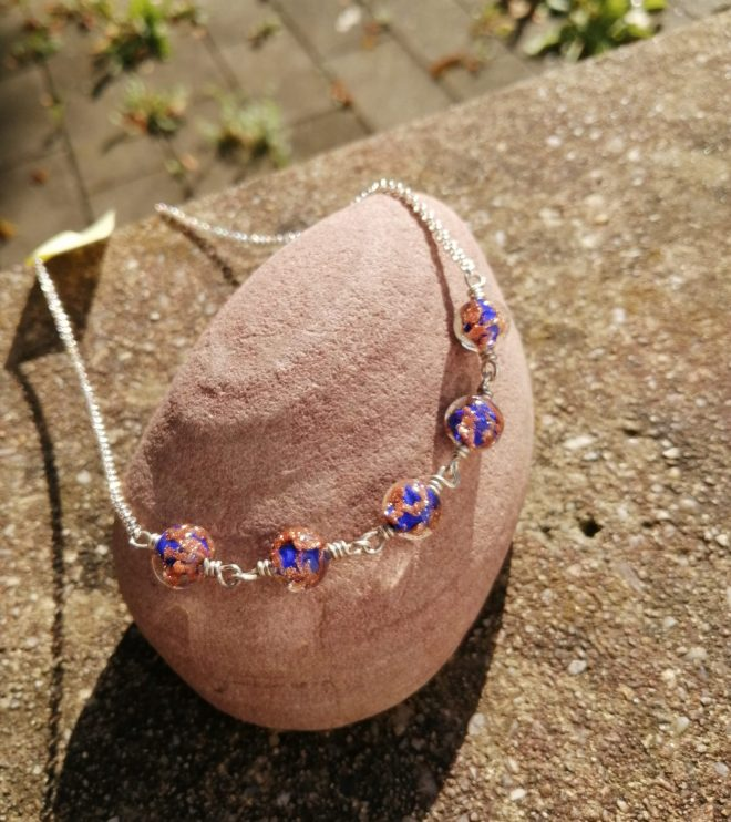 Halskette blaue Murano