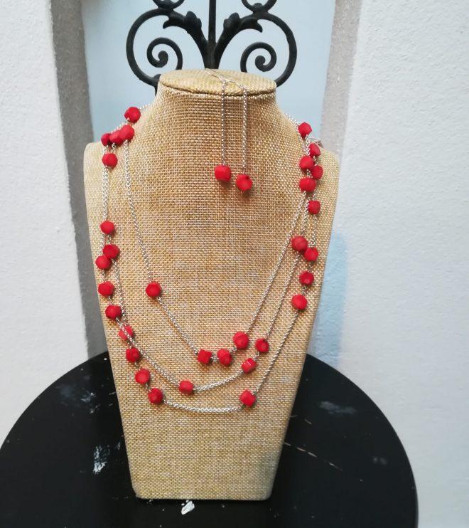 Set Silberkette und Ohrhänger mit Bambuskoralle