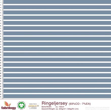 Biojersey Streifen - hellblau/weiß