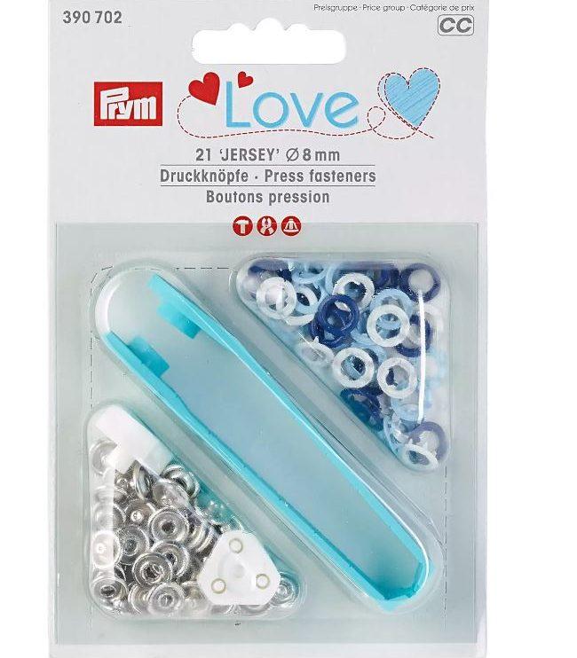 Jersey Druckknöpfe blau-weiß Prym Love 8mm, 21 Stück