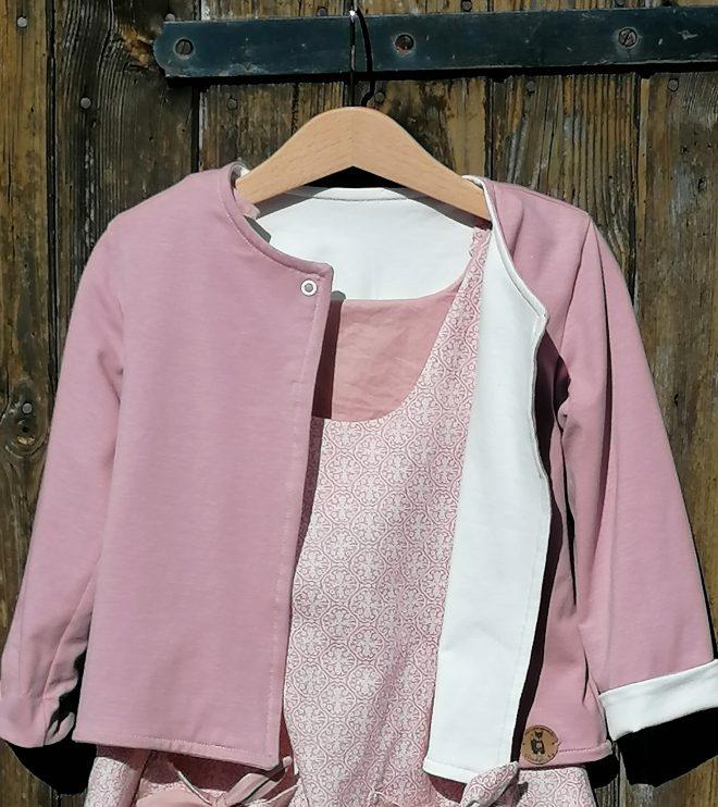 Wendejacke aus Biojersey weiß mit rosa & viele weitere Kombistoffe zur Auswahl