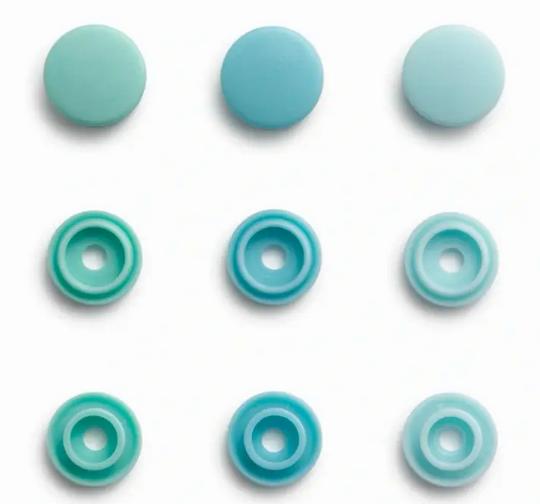 Druckknöpfe Color Snaps Mini hellblau mint Prym Love 9mm, 36 Stück