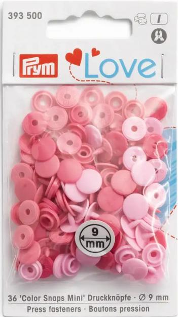Druckknöpfe Color Snaps Mini rosa pink Prym Love 9mm, 36 Stück